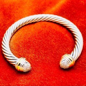 David Yurman Silver Bracelet w Diamonds + Gold